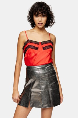 Topshop Womens Idol Coral Lace Cami - Coral
