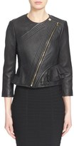 Herve Leger 'Mila' Ruffle Detail Lambskin Leather Jacket