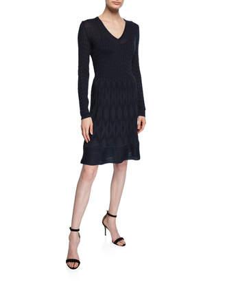 M Missoni V-Neck Long-Sleeve Short Dress