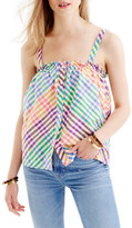 J.Crew J. Crew Rainbow Gingham Button Front Ruffle Top (Regular & Petite)