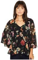Karen Kane V-Neck Flare Sleeve Top Women's Clothing