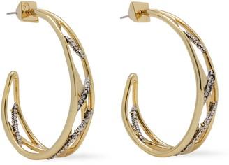 Alexis Bittar Gold-tone Crystal Hoop Earrings