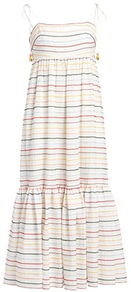 Zimmermann Zinna Scalloped Striped Midi Maxi Dress