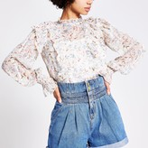 River Island Womens White floral frill long sleeve blouse