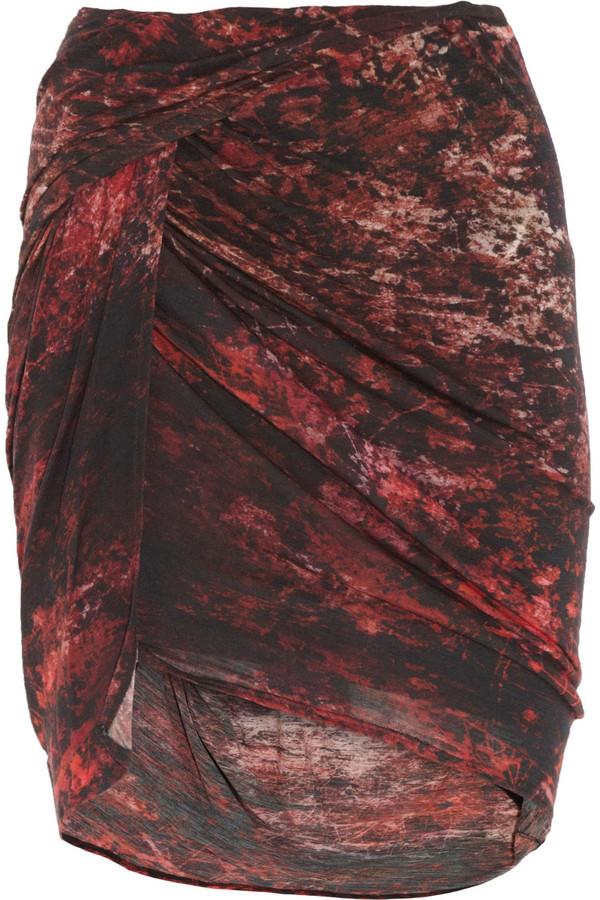 Helmut Lang Printed wool-blend jersey skirt