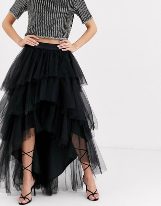 Chi Chi London tiered tulle skirt in black