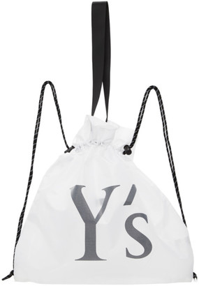 Y's Ys White Nylon Logo Backpack