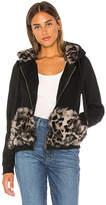 Jocelyn Longhair Rabbit Fur Section Zip Up Hoodie