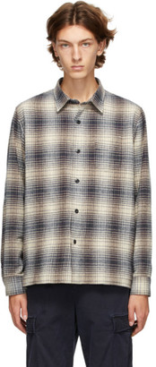 Officine Generale Off-White and Navy Check Generale Sol Ombre Shirt