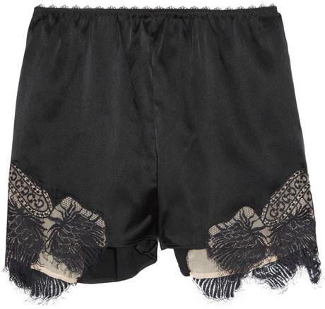 Julien Macdonald Tap lace-trimmed silk-blend shorts