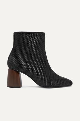 Souliers Martinez Pilar Woven Leather Ankle Boots - Black