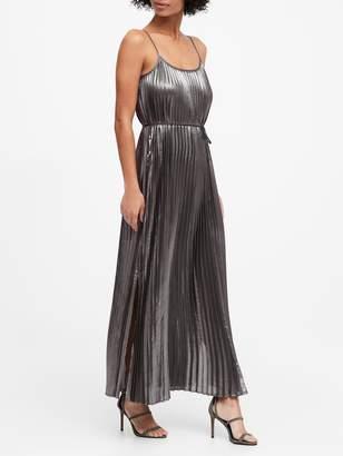 Banana Republic Petite Metallic Pleated Maxi Dress