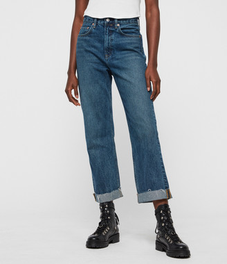 AllSaints Mari Boys High-Rise Boyfriend Jeans, Dark Indigo Blue