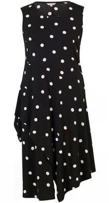 Chesca Spot Print Jersey Dress With Flounce Trim