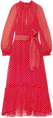 Zimmermann Ninety-six Belted Polka-dot Georgette Midi Dress