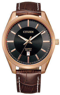 Citizen Quartz Mens Brown Leather Strap Watch-Bi1033-04e Family