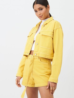 Missguided Double Utility Pocket Detail Denim Jacket Co Ord -Mustard