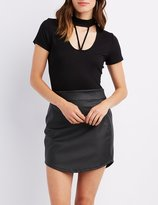 Charlotte Russe Caged Mock Neck Tee