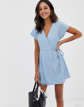 Asos Design DESIGN denim wrap dress in lightwash blue