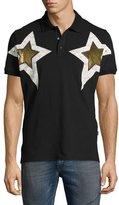 Just Cavalli Metallic Star-Print Polo Shirt, Black