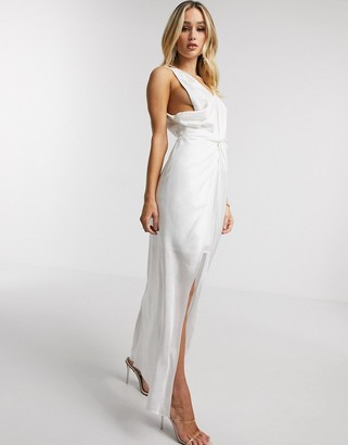 Significant Other Valentina one shoulder knot front maxi dress in ivory