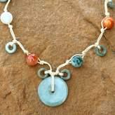 Beaded Quartz and Jade Necklace, 'Harmony'