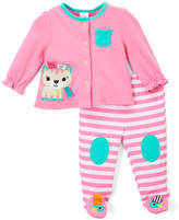 Taggies Pastel Pink Cat Cardigan & Footie Pants - Infant
