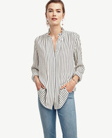 Ann Taylor Striped Ruffle Neck Blouse