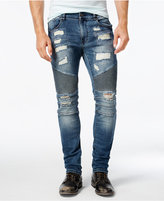 Reason Men's Mulberry Slim-Fit Ripped Moto Jeans