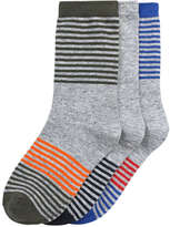 Joe Fresh Kid Boys' 3 Pack Stripe Socks, Grey (Size 3-6)