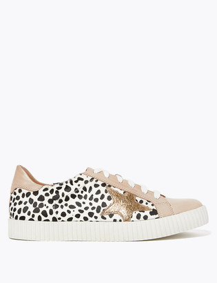 Marks and Spencer Leather Lace Up Leopard Print Star Trainers