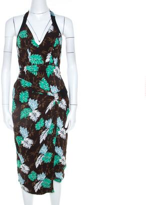 Proenza Schouler Brown Jungle Leaf Print Draped Halter Midi Dress S