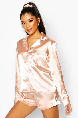 boohoo L Initial Satin 4pc Pyjama Set