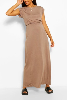 boohoo Maternity Cap Sleeve Shirred Waist Maxi Dress
