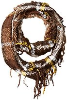 D&Y Women's Boucle Plaid Woven Loop Scarf with Fringe