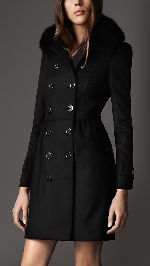 Burberry Long Fur Collar Trench Coat