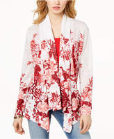 INC International Concepts I.n.c. Petite Printed Drape-Front Cardigan, Created for Macy's