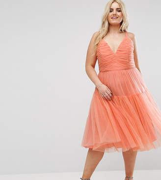 Asos Tulle Midi Prom Dress-Orange