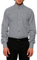 Dolce & Gabbana Micro-Dot Woven Sport Shirt, White/Black