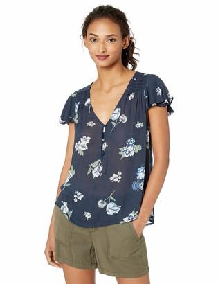 Lucky Brand Women's Blue Printed V Neck Flutter Sleeve Shirt