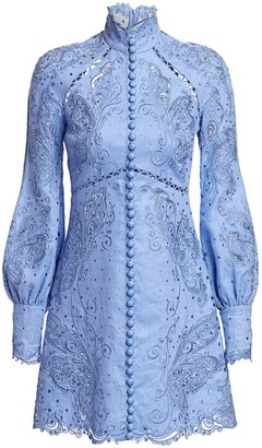 Zimmermann Super 8 Lace Eyelet Embroidered Mini Silk & Linen Sheath Turtleneck Dress