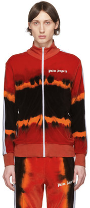 Palm Angels Red and Black Tie-Dye Chenille Track Jacket