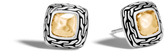 John Hardy Women's Classic Chain Stud Earring in Sterling Silver and Hammered 18K Gold