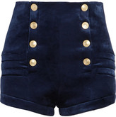 Pierre Balmain Stretch-velvet Shorts - Navy