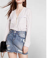 Express striped long sleeve zip front blouse
