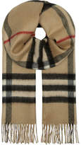 Burberry Metallic checked reversible cashmere scarf