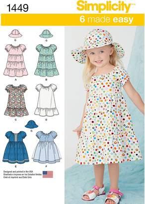 Simplicity Children's Dress Sewing Pattern, 1449
