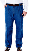 Haggar BIG & TALL Work to Weekend Denim - Classic Fit, Pleated Front, Hidden Expandable Waistband