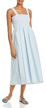Aqua Striped Smocked Midi Dress - 100% Exclusive