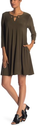 Nina Leonard Hardware Neck Long Sleeve Dress